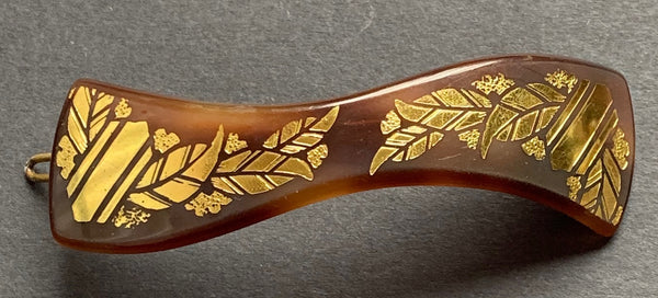 Deco  French Lucite Tortoiseshell and Gold Hair Clip