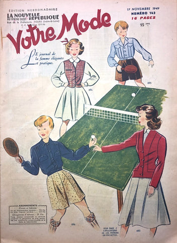 Nov 1949 Table Tennis and Elegant Fashion Illustrations in French Magazine Votre Mode