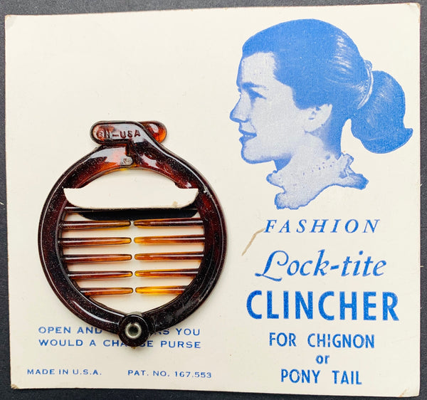 "1950s ""Lock-tite CLINCHER"" Ring Grip for Chignon or Pony Tail"