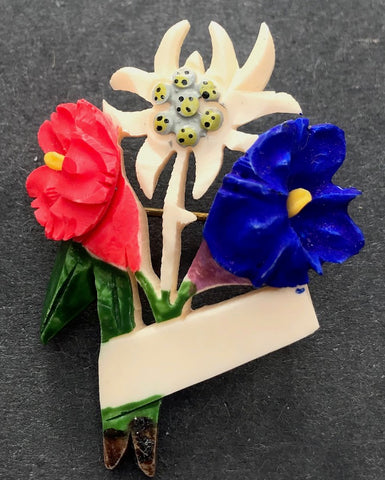 Vibrant 1940s Celluloid Edelweiss and Gentian Alpine Brooch