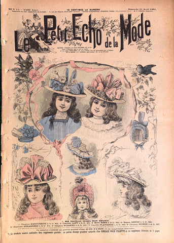 Amazing Girls Hats in this April 1901 French Fashion Paper Le Petit Echo de la Mode