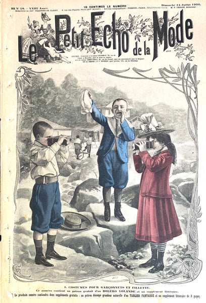 Cameras on Front Cover of July 1901 French Fashion Paper Le Petit Echo de la Mode