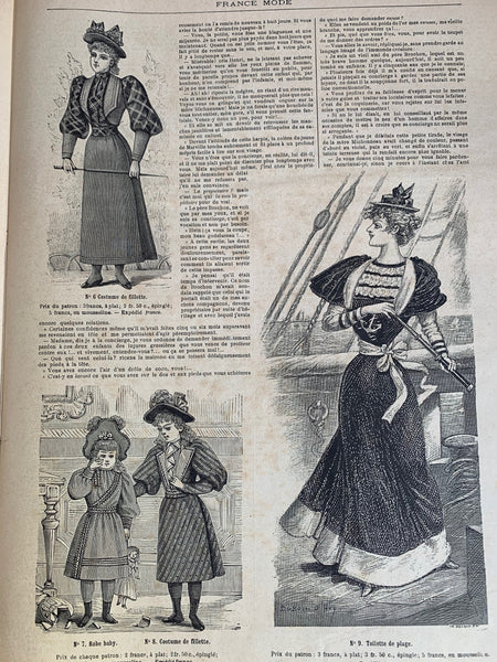 July 1893 French Fashion Paper FRANCE MODE incl Wedding Dress