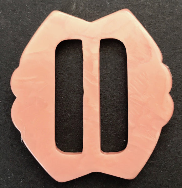 Soft Pink 1940s Galalith / Casein 5cm Belt Buckle - Unused Old Shop Stock