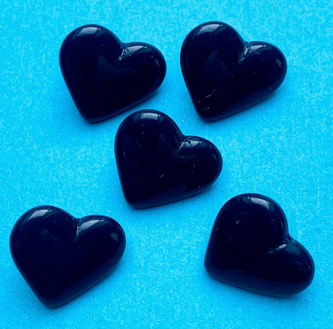6 Very Dark Blue Czech 1.4cm Glass Heart Buttons