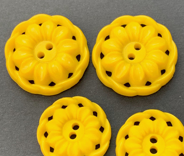 6 Delightful Sunny Yellow Flower Buttons 2.4cm or  2cm wide