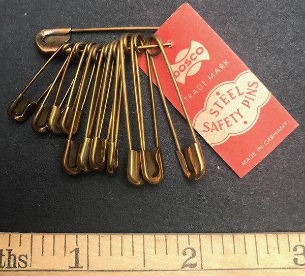 "12 lovely old 1930s German Brass Plated 1-1.5"" Safety Pins"