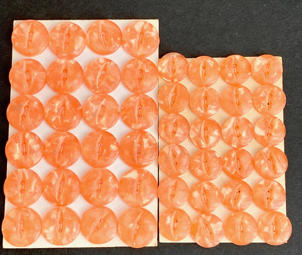 24 Glowing Lucite Peach Vintage Buttons 1.5cm or 1cm wide