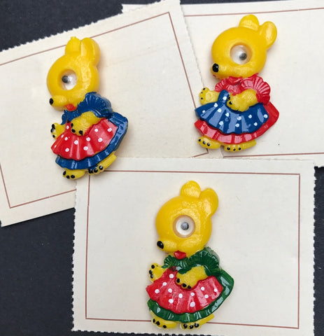 Vintage Googly Eyed Yellow Bunny Brooch