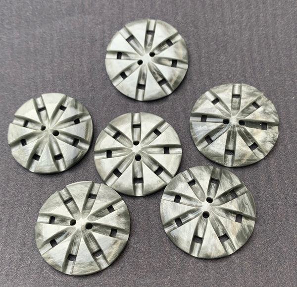 6 Shiny Silver Grey Vintage Lucite Buttons - 2.2cm wide
