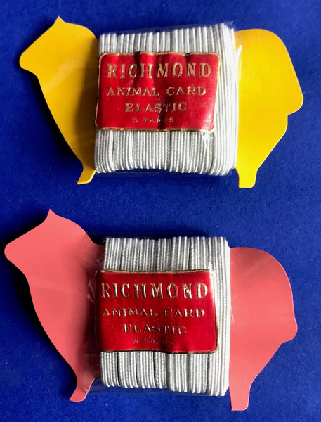 "1940s Rayon Elastic on ""Non-Inflammable"" plastic animal holders Made in England"