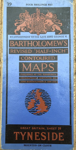 1940s Bartholomew's Map of TYNESIDE, Middlesbrough, Haltwhistle, Durham