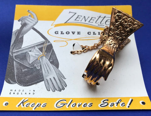 1940s Hand Shaped GLOVE CLIP Made in ENGLAND on original Packaging