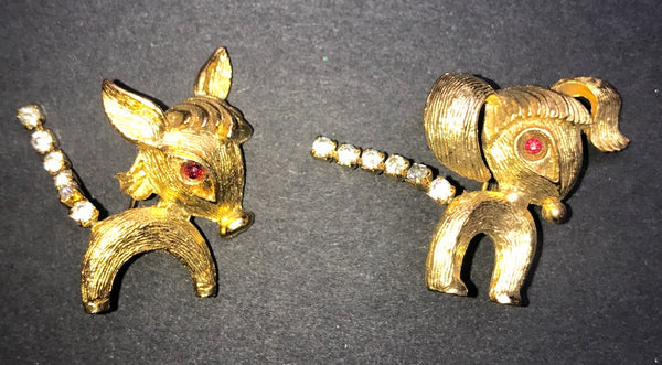 Bashful Vintage Donkey Brooches