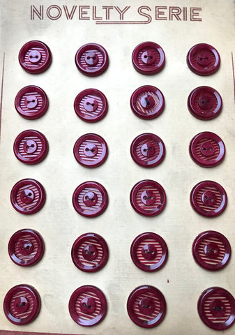 24 Vintage 1.7cm Burgundy Red French Casein Buttons