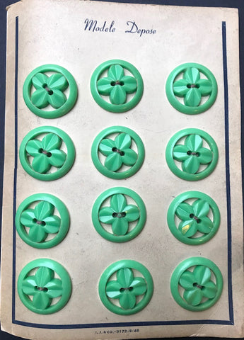12 Vintage Green 2.7cm Flowers in Circles Buttons
