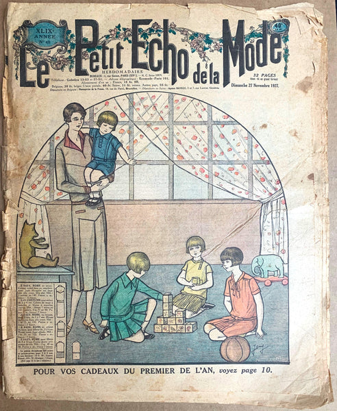 Children and Teddy on Front Cover November 1927 French Fashion Paper Le Petit Echo de la Mode