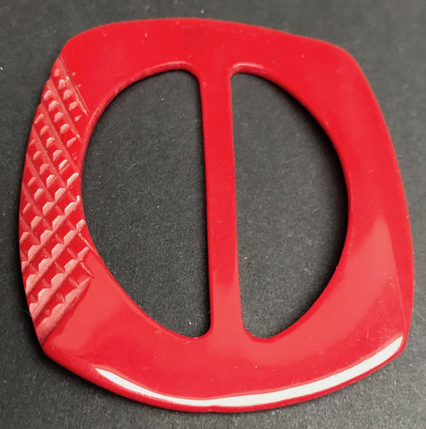British Made Vintage Red Casein 7cm  Buckle - Unused Old Shop Stock