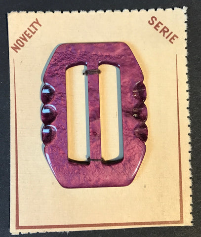 Gloriously Purple 1940s Galalith / Casein 6cm Belt Buckle - Unused Old Shop Stock