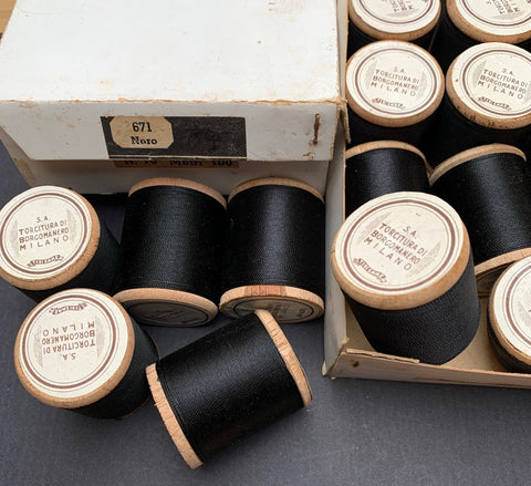Vintage Italian Box of 12 wooden spools x 100m Black Cotton Thread