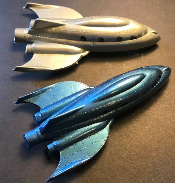 Wonderful Mid Century Design details on 1950s Flash Gordon style Space Cruisers Made in England.