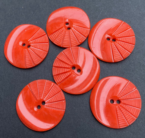 6 Red Vintage French Moulded and Carved Casein 2.2cm or 1.7cm Buttons