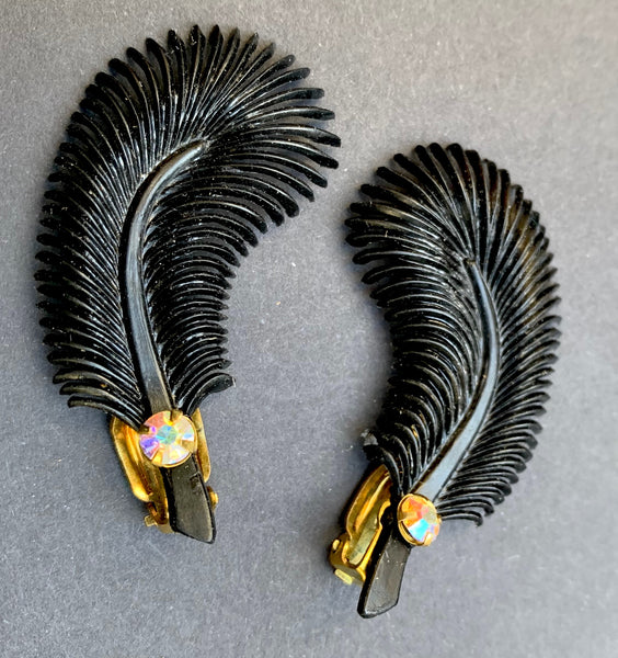 Burlesque Black Feather and Diamante Vintage Clip-on Earrings