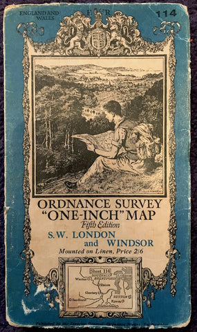 "1930s ORDNANCE SURVEY 1"" Map of S.W. LONDON & WINDSOR incl Slough, Maidenhead, Woking, Kingston upon Thames, Ascot."