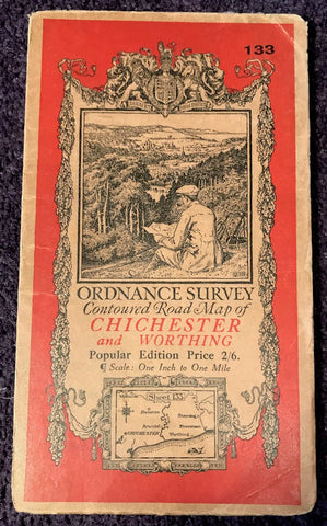 "Fascinating 1920 ORDNANCE SURVEY Contoured MAP of CHICHESTER and WORTHING 1"" to 1 Mile"