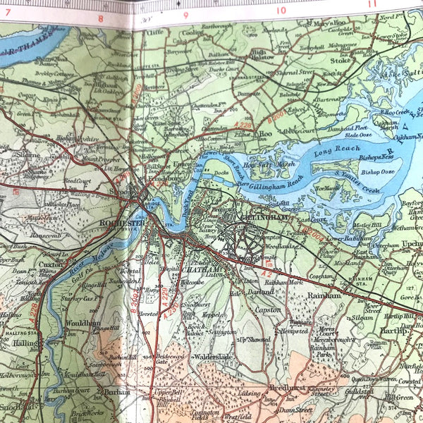 "1940s Bartholomew's 1/2"" to 1 Mile Contoured Map of KENT"
