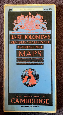 "1940s Bartholomew's 1/2"" to 1 Mile Contoured Map of CAMBRIDGESHIRE"