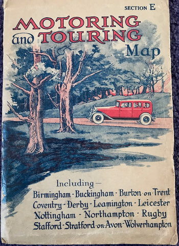 1920s Map of The Midlands - Birmingham, Burton-on-Trent, Leamington, Northampton Nottingham, Wolverhampton etc