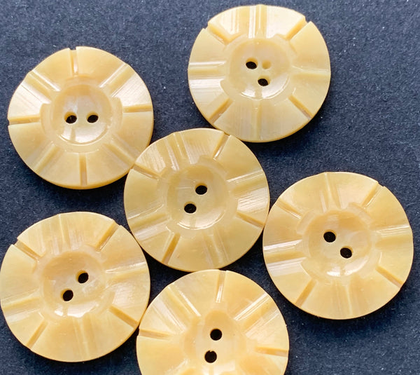 1.7cm Corn Yellow Vintage  Buttons -Sheets of 24 or 6 loose.