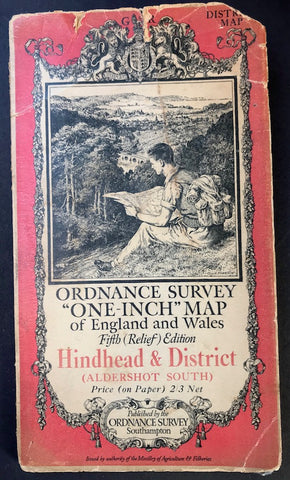 "1932 ORDNANCE SURVEY Relief Edition MAP of HINDHEAD & DISTRICT (ALDERSHOT SOUTH) 1"" to 1 Mile"