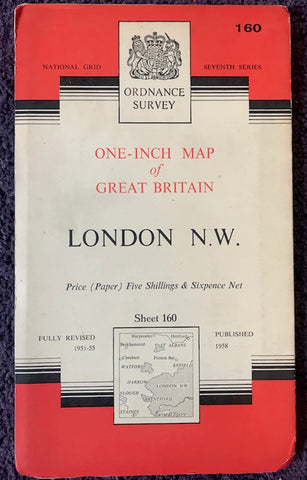 "Interesting 1950s ORDNANCE SURVEY MAP of N.W. LONDON, Middlesex + Hertfordshire 1"" to 1 Mile"