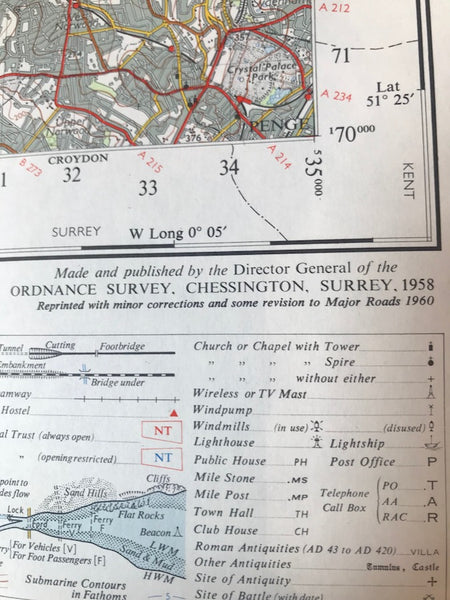 "Fascinating 1940s and 50s ORDNANCE SURVEY MAPS of N.W. LONDON, Middlesex + Hertfordshire 1"" to 1 Mile"