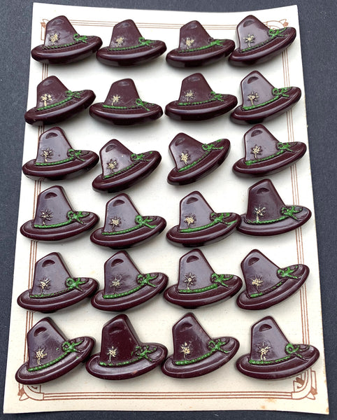 Wonderful Vintage Tyrolean Hat Buttons - 6 or 24