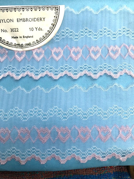 10 yds Pretty Pink or Blue Heart Decorated Vintage Trim 5cm Wide Made in England
