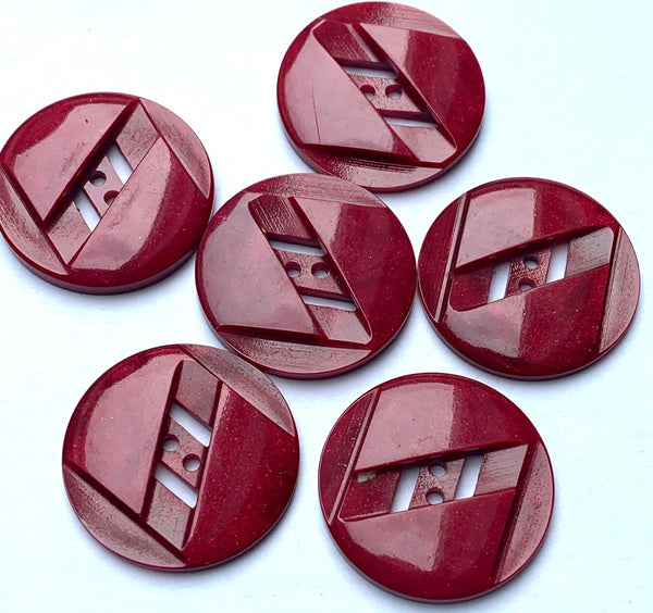 6 Burgundy Red 1930s Deco Casein Buttons  - 2.2cm