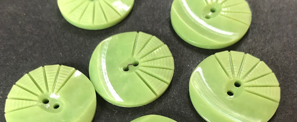 6 Mint Green 1930s Moulded and Carved Casein 2.2cm Buttons