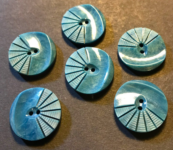 6 Teal Blue Vintage 1930s French Moulded and Carved Casein 2.2cm Buttons