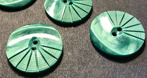 6 Frosted Green 1930s Moulded and Carved Casein 2.2cm Buttons