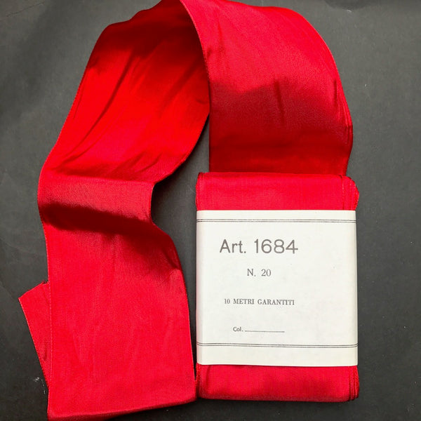 Vibrant Red 7cm wide 10m long Vintage Italian Ribbon - Perfect for Christmas !