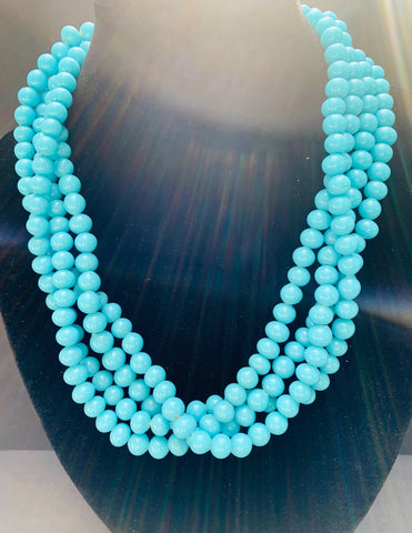 Lovely Vintage Aqua Blue Glass Bead 4 strand Necklace