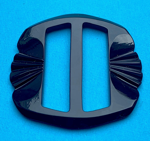 Wonderfully Deco Midnight Blue Galalith / Casein 4.5cm Belt Buckle - Unused Old Shop Stock