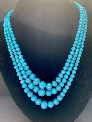 Vintage Sky Blue Graduated Glass Bead 3 strand Necklace