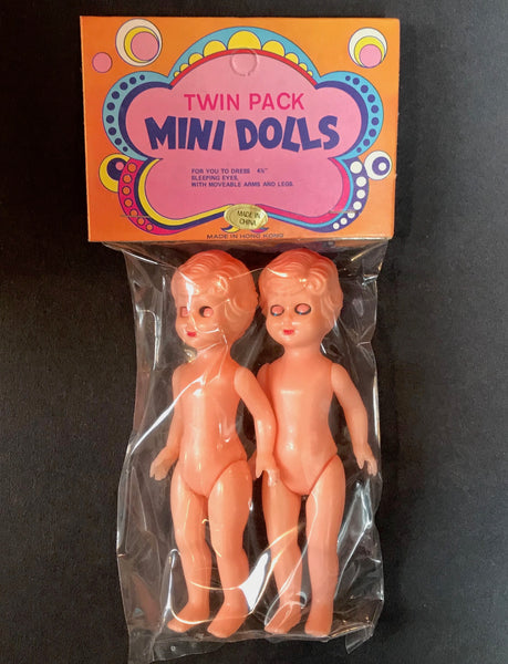 "Vintage 1970s Twin Pack MINI DOLLS with ""Sleeping Eyes""... 11.5cm Tall"