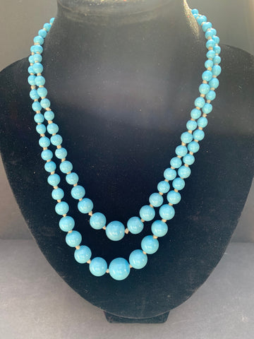 1940s Baby Blue Graduated Glass Bead Necklace