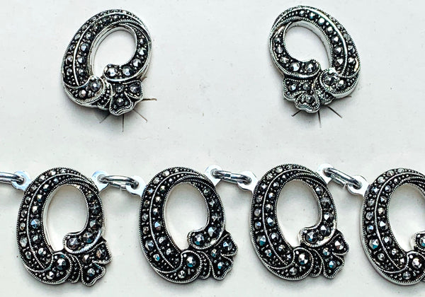 Sparkly Vintage Faux Marcasite Necklace and Clip On Earrings