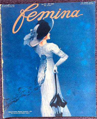 August 1911 French Magazine FEMINA Lots of Gorgeous Illustrations, Fashion, Adverts